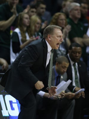 Michigan State coach Tom Izzo reacts to a call during the first half of Friday's win over Georgia in the NCAA tournament in Charlotte, N.C.