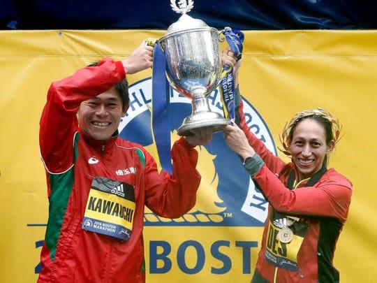 The Boston Marathon winners Yuki Kawauchi of Japan