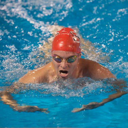 South Fork swimmer Clayton Glory swims in the 200 IM