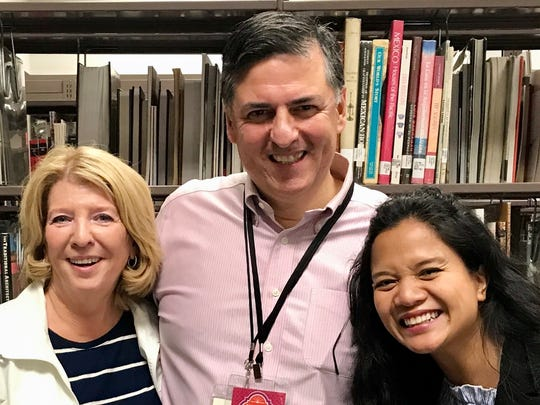 """Marcia Hatfield Daudistel, left,  editor of the book, """"Literary El Paso;"""" Sergio Troncoso, vice president of the Texas Institute of Letters; and Sasha Pimentel, a poet and UTEP assistant professor."""