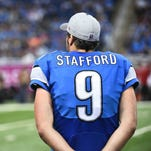 Detroit Lions quarterback Matthew Stafford on the sidelines shortly after backup Dan Orlovsky replaced him during their 42-17 loss to the Arizona Cardinals on Sunday, October 11, 2015, in Detroit.