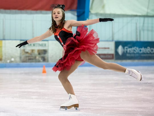 Emerald Higgins, 13, skates during practice for the Port Huron Figure Skating Club ice show Tuesday, Feb. 21, 2017 at Glacier Pointe in Port Huron Township.