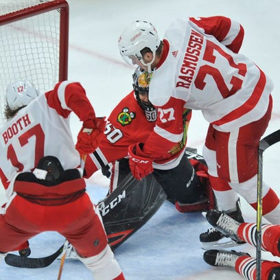 Red Wings rookie Michael Rasmussen scores his first