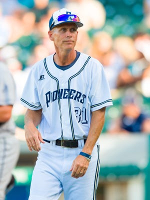Providence High School head coach Scott Hornung (31) during the Class 2A championship game. The 50th Annual IHSAA Baseball State Finals game was played Saturday, June 18, 2016, at Victory Field in Indianapolis. Providence won 7-6.