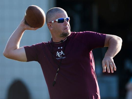 Alabama Christian Academy coach Bill Moore at football practice at the school in Montgomery, Ala. on Monday August 3, 2015.
