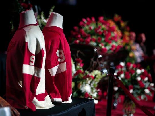 Legendary hockey Hall of Famer Gordie Howe lies in repose at his visitation at Joe Louis Arena on June 14, 2016, in Detroit.
