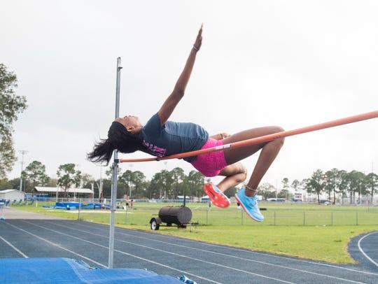 Tytavia Hardy high jumps at Booker T. Washington High