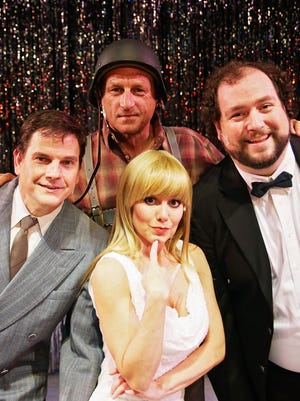 """""""The Producers"""" opens at Strauss Theatre Center Friday with, from left, Rex Yocum, Linnea Allen and Tony Sanson and in back, Teddy Allen, along with a large cast of performers."""