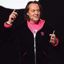 T-Mobile CEO John J. Legere at the Shrine Auditorium announcing new products.