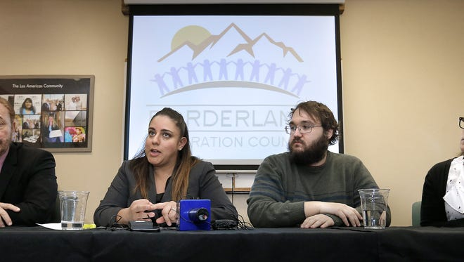 Immigration attorney Carlos Spector of Mexicano en Exilio, left, Linda Rivas of Las Americas Immigrant Advocacy Center, Robert Heyman of Border Network for Human Rights and Theodora Simon of the Hope Border Institute hold a press conference Thursday to denounce executive orders by President Donald Trump related to immigration.