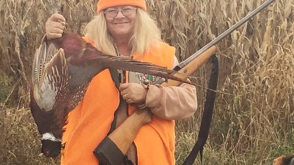 Carol gave herself a treat by bagging this Halloween pheasant.
