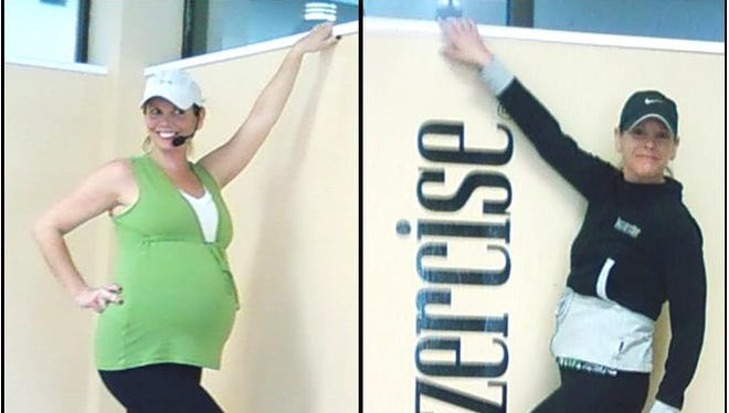 Katie Porter, Jazzercise instructor, poses before and after a year of workouts.