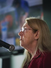 Dr. Judith van Houten,  director of Vermont EPSCoR (Experimental Program to Stimulate Competitive Research), speaks during a news conference where a $20 million grant to study the effects of climate change on Lake Champlain was announced at the ECHO Leahy Center for Lake Champlain in Burlington on Monday, April 18, 2016.