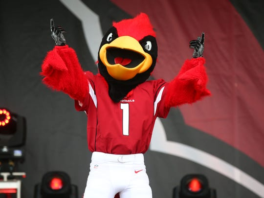 Arizona Cardinals mascot Big Red at the draft party on Thursday, April. 27, 2017 on the great lawn at University of Phoenix in Glendale, Ariz.
