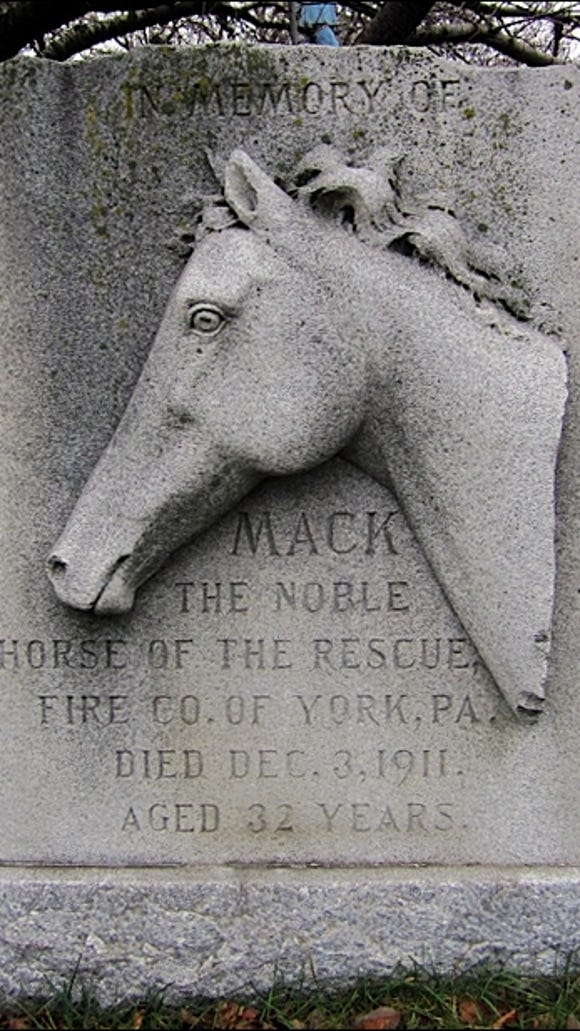 Monument to Mack the Noble Fire Horse, at the York Fire Museum, 757 West Market Street, York, PA (2015 Photo, S. H. Smith)