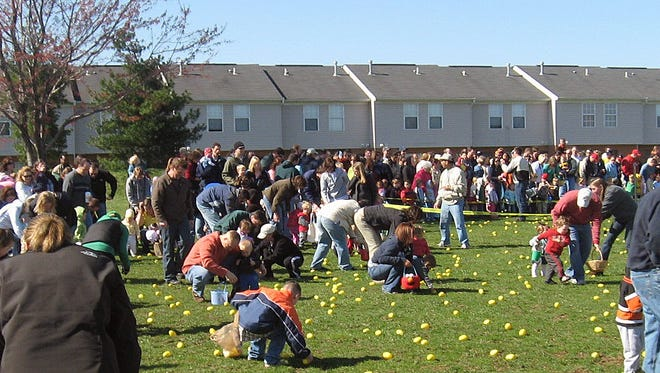 About 4,000 plastic eggs will be hidden in Liberty Park for Saturday's Easter egg hunt in Liberty Township. Thousands more will be hidden in West Chester Township's Keehner Park for its Saturday hunt.