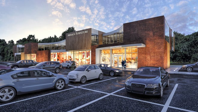 An artist's rendering of the Arhaus Furniture store at the Culver Road Armory.