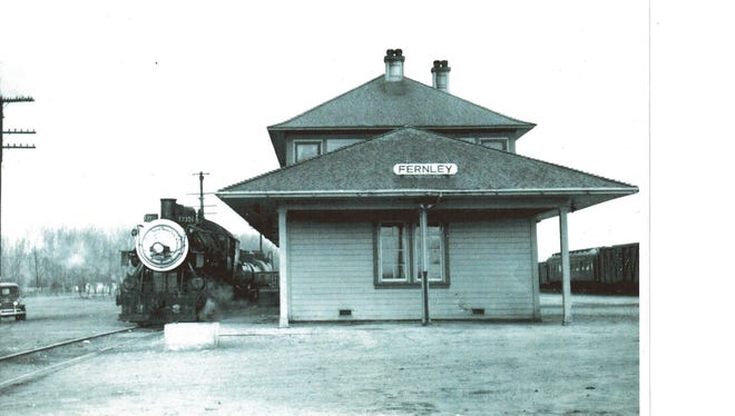 The historic Fernley Depot, shown in the 1950s at its former site next to the railroad tracks. The city plans to make the structure available for public use.