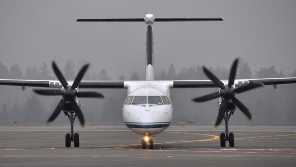An Alaska Airlines Bombardier Q400.