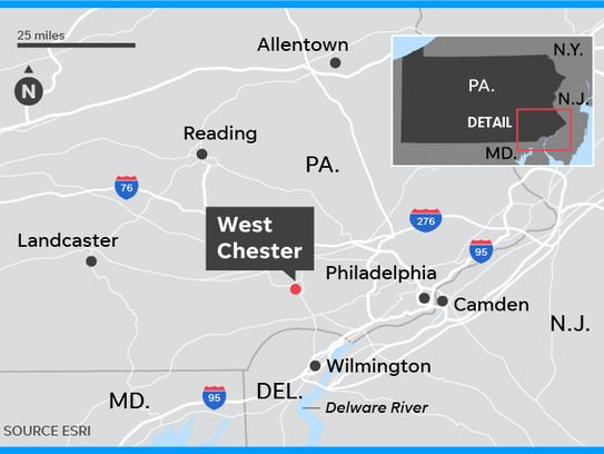 The Barclay Friends Senior Living Community in West Chester, the site of a large fire Thursday night, is about 35 miles west of Philadelphia.