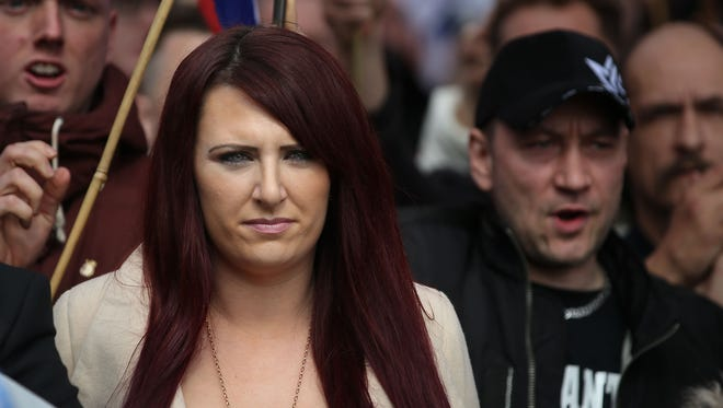 This photograph taken on April 1, 2017 shows Jayda Fransen, acting leader of the far-right organisation Britain First marching in central London.