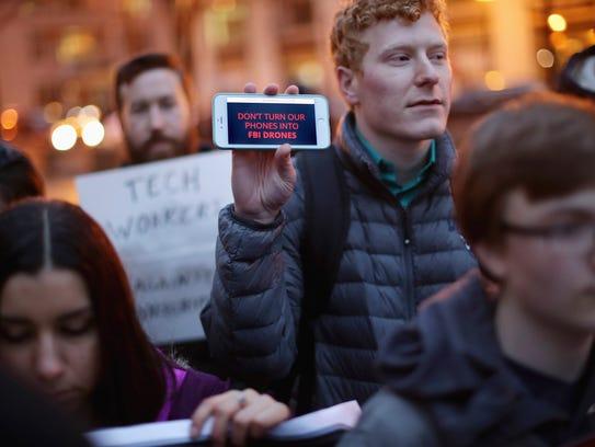 Organized by Fight for the Future, about a dozen protestors