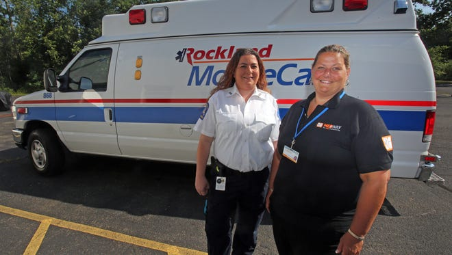 From left, Rockland County EMT, Aliyea Langbaum and Lisa Goldberg of Me Way are photographed in Chestnut Ridge on July 21, 2016. Langbaum had to rush to the Tappan Zee Bridge after the crane collapse to hook up a 26-year-old Spring Valley woman in an ambulette to a new ventillator, just before the old ventillator ran out of batteries.