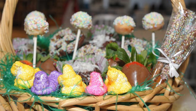 An Easter basket brims with homemade candy and chocolate-covered treats.