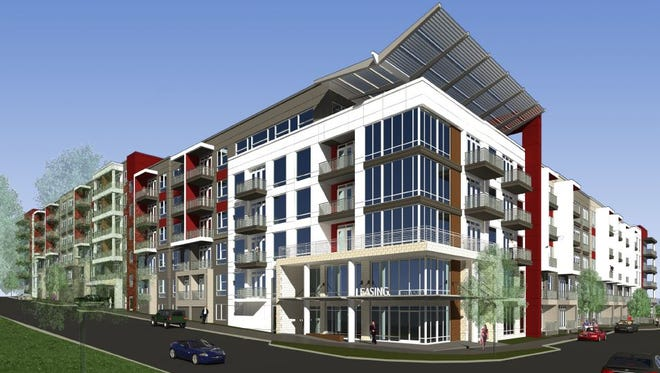 A rendering of the Solis North Gulch apartments planned at 600 11th Ave. S.
