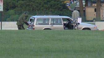 Capitol Police bomb squad checks suspicious vehicle