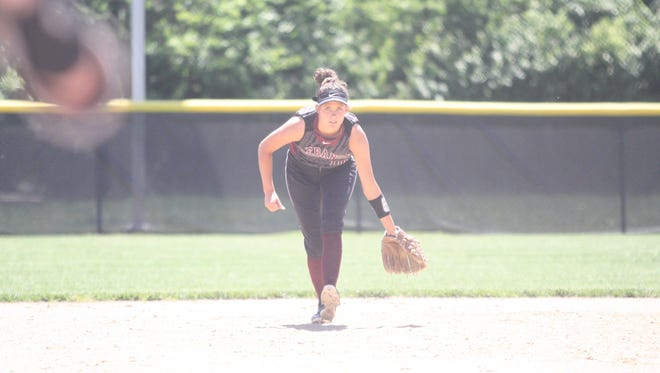 Lebanon's Ashley West roams at shortstop against Lakota East in a Division I regional semifinal on Wednesday, May 23, 2018, at Centerville High School.