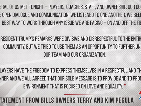 Statement from Buffalo Bills owners Terry and Kim Pegula
