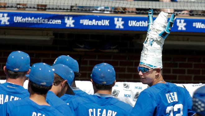 Kentucky's  Austin Keen (#22) wears a... well... to be honest I am not sure what he is wearing. June 4, 2017