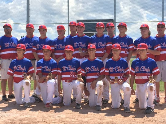 The St. Clair 14-and-under baseball team.