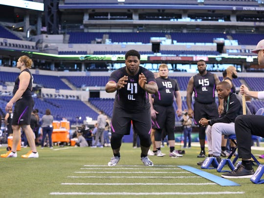 Ole Miss offensive lineman Rod Taylor during the NFL football scouting combine. Taylor ran a 5.24 40-yard dash, had a 30.5-inch vertical jump and a 99-inch broad jump.
