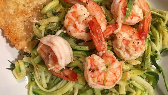 """Lighten up your shrimp scampi with zucchini """"noodles"""""""
