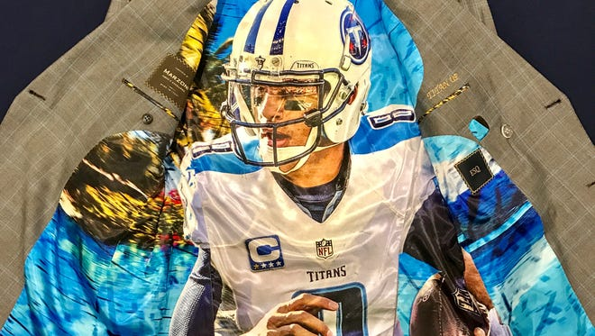 The Titans-themed lining to one of quarterback Marcus Mariota's suit jackets.