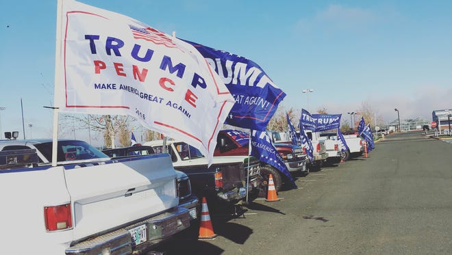 Dozens of students at Silverton High School held a pro-Trump demonstration Tuesday, November 8, 2016.