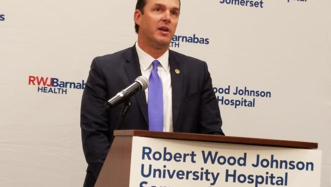 Somerset County Prosecutor Michael Robertson welcomes the Opioid Overdose Recovery Program to RWJ-Somerset Hospital.