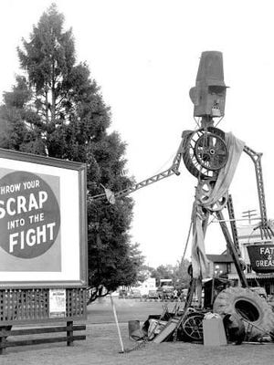 Salem was a star during World War II when residents helped in the war effort by creating Scrappo, seen here. The sculpture was made to encourage scrap-metal donations for the military.