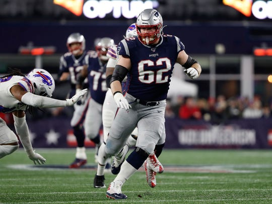 Dec 21, 2019; Foxborough, Massachusetts, USA; New England Patriots offensive guard Joe Thuney (62) looks to block against the Buffalo Bills during the second half at Gillette Stadium. Mandatory Credit: Winslow Townson-USA TODAY Sports