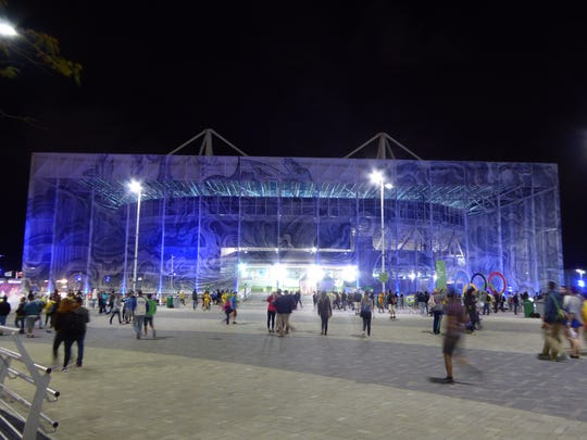 A look at the big, beautiful swimming venue in Rio from the camera of desert chiropractor Corina Morrison.