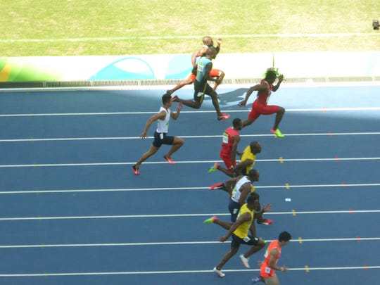 Desert chiropractor Corina Morrison is in Rio. Saturday she watched Usain Bolt (fourth from bottom) on the track.