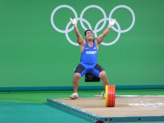 A dancing weightlifter was the highlight of Corina Morrison's final full day at the Rio Olympics.
