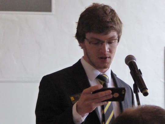Jacob Simpson, president of the University of Iowa Student Government, speaks to the Iowa Board of Regents during a June 8, 2017, meeting in Cedar Falls.