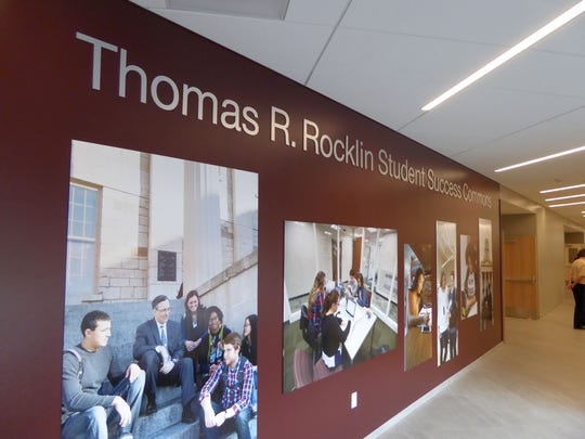 The University of Iowa's newest residence hall, Catlett Hall, included a commons named after Tom Rocklin, UI's recently retired VP for student life.