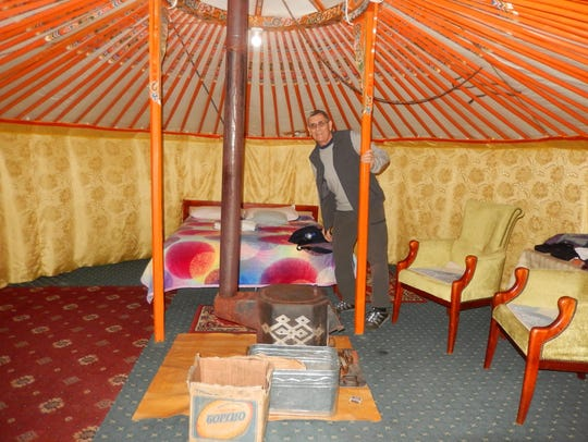 Tim Callahan inside a ger in Mongolia.