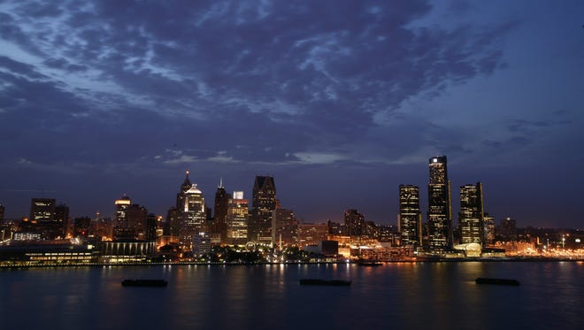 The Detroit skyline before the start of the 46th Annual Marshall Field's Target Fireworks show Wednesday, June 23, 2004 between Detroit and Windsor, Ontario.