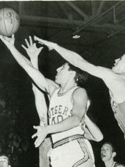 Jim Valvano goes up for a layup for Rutgers.
