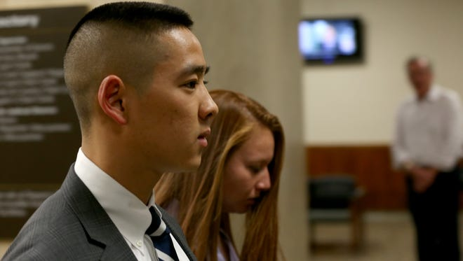 Charles Tan returns to court to as the jury is sent home for the night after Monday, Oct. 5, 2015 deliberations.